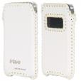"""Кожаный чехол """"Кантри стиль"""" для iPhone 4S, белый с текстурой BI0610"""