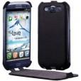 """Кожаный чехол """"флип""""  для Samsung Galaxy S3, черный BG6406"""