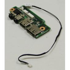 б/у USB плата для ноутбука ASUS N61D +AUDIO разъемы+шлейф 14G140336000 60-NZZAU1000-E01
