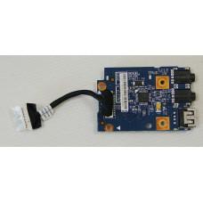 б/у USB плата для ноутбука Lenovo B570 (USB+кардридер+jack(2 разьема)+шлейф) 55.4IH02.011G