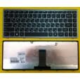 Клавиатура для ноутбука Lenovo flex 14 серая, чёрные кнопки (для Win8) 25213957 9Z.NAASW.L0R