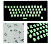 Наклейка на клавиатуру русский/латинский светящиеся водонепроницаемые на прозрачной плёнке
